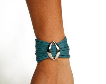 Turquoise Multi Strand Leather Cuff - Rimanchik Blue Lips Bracelet