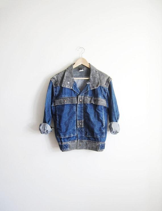Two-Tone 80s Vintage Denim Jean Utility Jacket men-s women-m