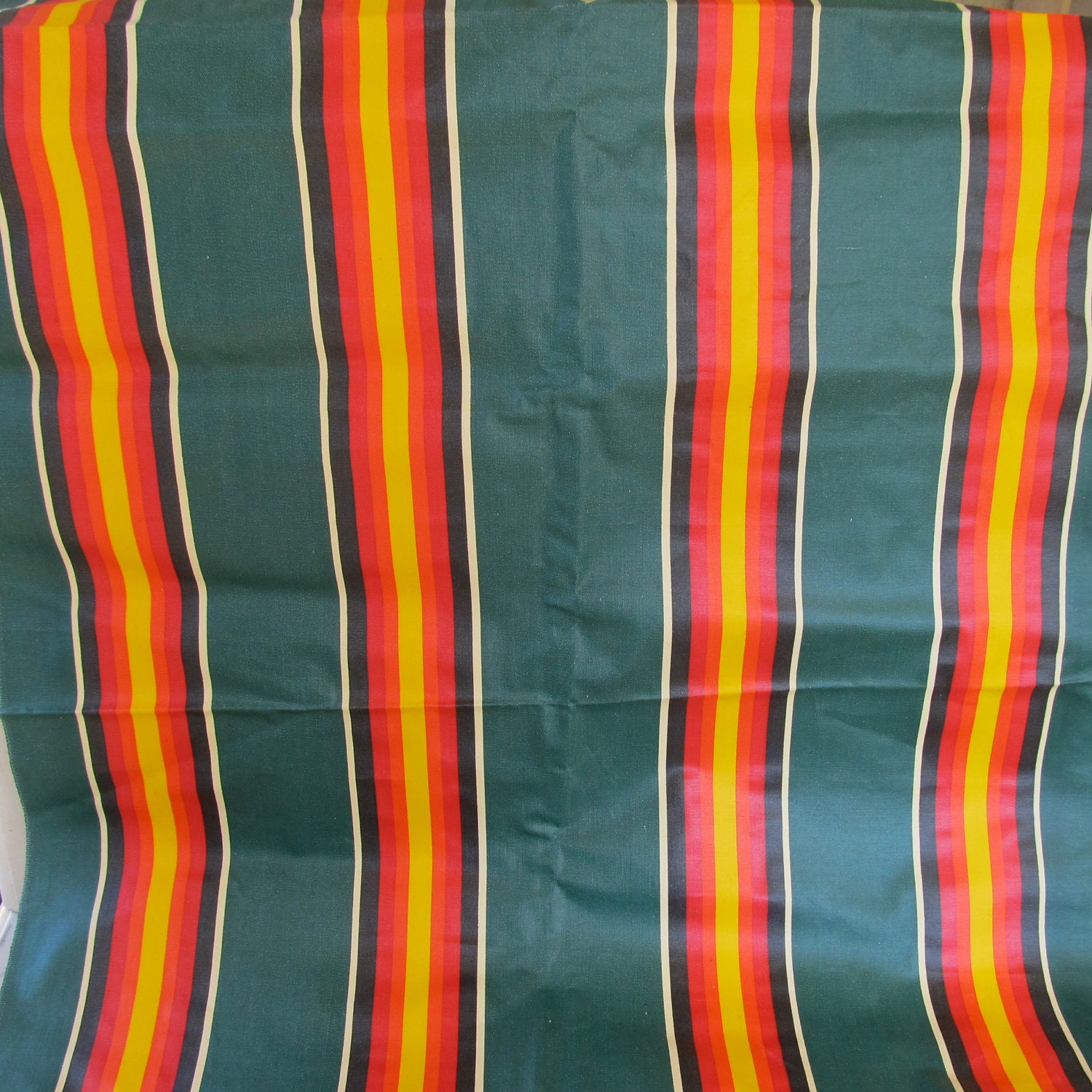 Vintage Striped Awning Fabric Green Orange Yellow Outdoor