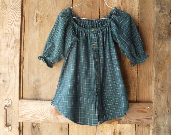 upcycled flannel shirt in watch plaid // womens size S/M