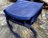Vintage Formal Blue Handbag by designer Walberg, Pleated Satin Beauty