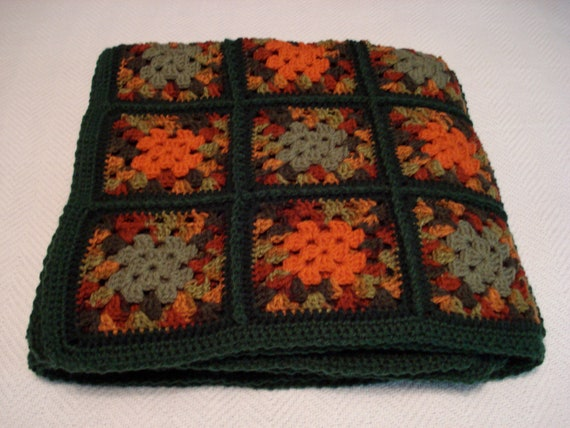 Fall Festival Autumn Colors Crochet Granny Square Afghan in Greens, Oranges, and Reds