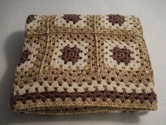 Beach Sands Muted Colors Crocheted Granny Square Afghan