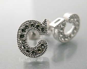Initial post earrings, custom letter stud earrings, silver rhinestone, Personalized jewelry, gift, by balance9