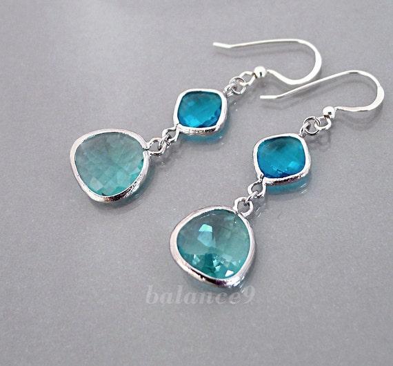 Blue Crystal Earrings, silver framed glass crystal bezel drop dangle, sterling ear wire, delicate bridesmaid wedding jewelry, by balance9