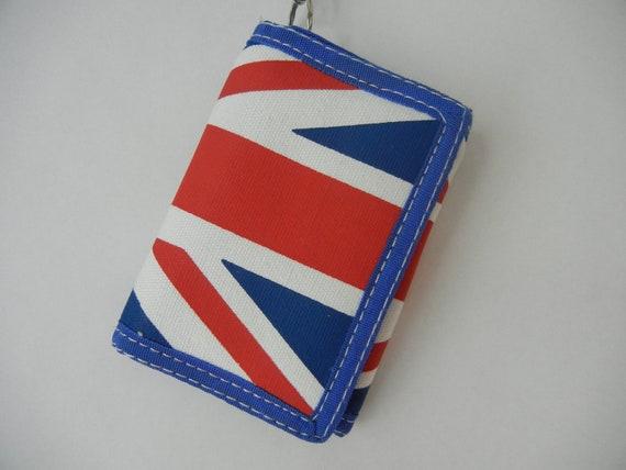 Vintage British Flag Chain Wallet, 90's, Flag, Hipster, Tumblr, Red, White, Blue, England