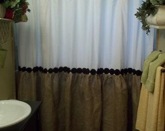 Shabby Floral Trim - Burlap Shower Curtain - Burlap & Cotton Gathered Shower Curtain