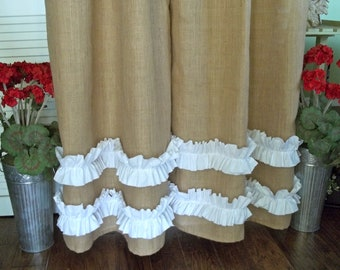 Burlap - Cotton Ruffles -  Burlap Curtain Panel - In Natural Tan