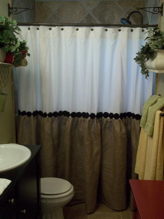Trim burlap shower curtain burlap amp cotton gathered shower curtain