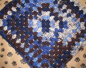 Crocheted Pet Blanket - Multicolor Blue/Brown