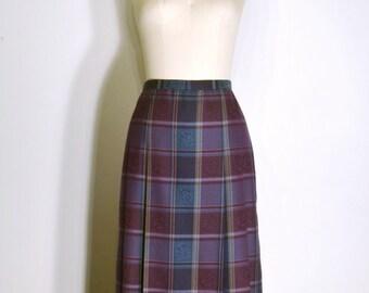 Vintage 1970s Skirt - 70s Pleated Skirt - Eggplant Purple