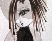 """Girl in Sepia, Pale Gray and Burnt Umber-ACEO Original Watercolor and Ink on Archival paper- Black- Brown and White 2.5x3.5"""""""
