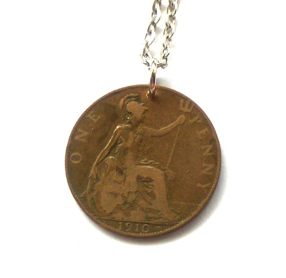 UK Coin Pendant, 1910 Penny, Edward VII, British Coin Pendant