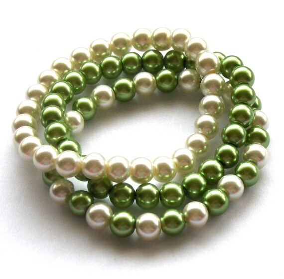 Ivory and Apple Green Pearl Bracelets, Trio of Glass Pearl Bracelets, Bridal Jewelery