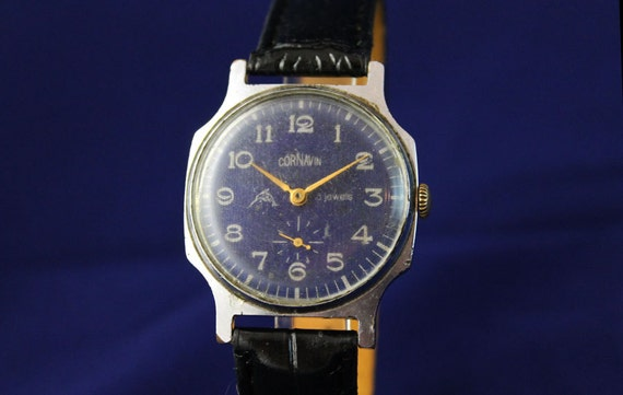 CORNAVIN Rare men's wristwatch EXPORT version Blue Dial made in USSR (req46406)