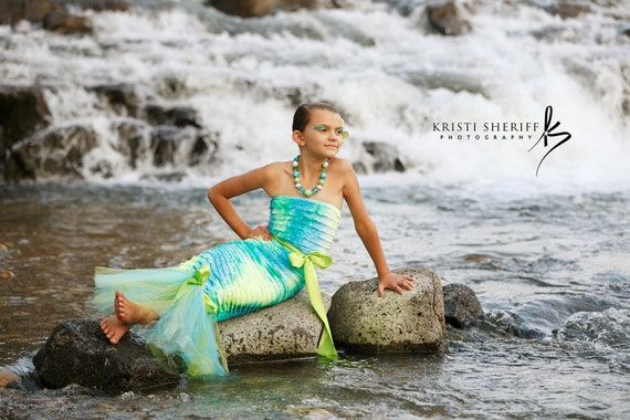 Mermaid Costume made with ruffles xs s m large CUSTOM ORDER for Renee