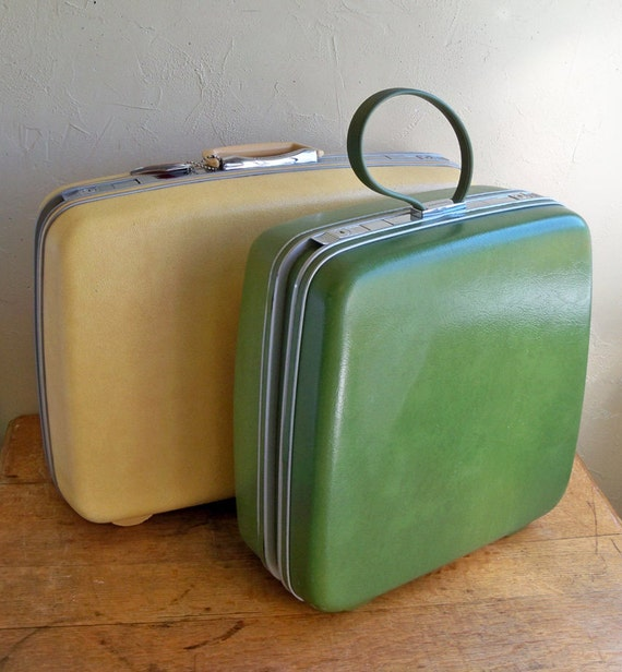 1970's Samsonite Silhouette Overnight Suitcase in Groovy Avocado Green