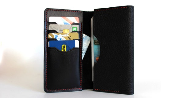 Hand stitched Sleeve Wallet for iPhone / Galaxy / Nexus in Vegetable Tanned BLACK Leather