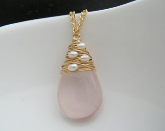Rose Quartz Pearl Wrapped Stone Pendant