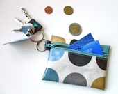 Coin Purse / Business or Credit Card Holder / ID wallet in duck egg blue dotty Oilcloth