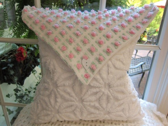 Hand Made White Chenille Envelope Pillow -w- Pink Chenille Pops Envelope Top - Shabby Chic - Chenille Bedspread