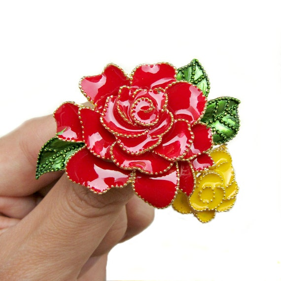 2pc Enamel Red Yellow Rose Brooch Shoe Clips - Wedding Accessories Ring Pillow Gift Box BRO-008 (55mm by 40mm or 2.2inch by 1.6inch)