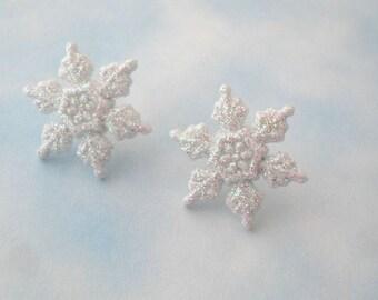 glitter snowflake studs - iridescent white