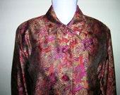 Jewel tone, brocade-type jacket - size large