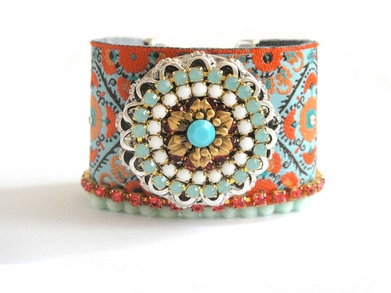 Indian gypsy queen - bohemian hippie - ribbon leather and swarovski rhinestones - wide cuff bracelet - orange and turquoise