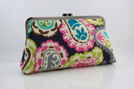 Candy Paisley Kisslock Frame Clutch - the Christine Style Clutch
