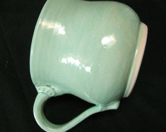 Mug  Ceramic and Pottery Large Coffee Cup 12 Oz Tea Cup Home Decor Kitchen Tableware Handmade Modern Decor Stoneware Mug Turquoise Pottery