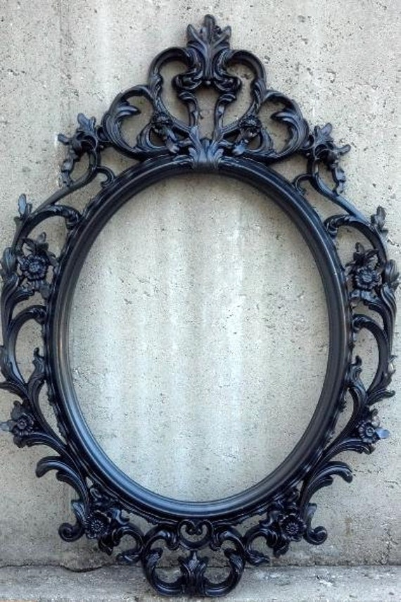 Black or white vintage style frame only baroque oval round for Miroir noir baroque