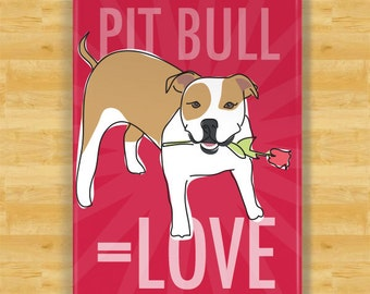 Pit Bull Dog Magnet - Pit Bull Love - Tan and White Pit Bull Gifts Refrigerator Fridge Dog Magnets I Love You Valentines Day