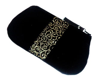 Black Velvet Zippered Clutch Purse, Black Gold Clutch Purse