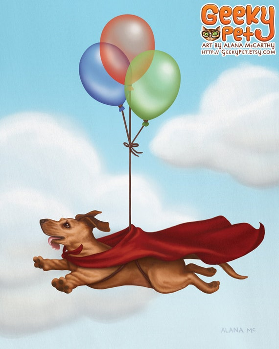 Superwiener - 8 x 10 art print - dachshund dog dressed up like superman with balloons and a cape in the sky