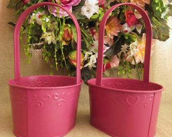 Raspberry Sorbet Flower Girl Baskets / Pair of Upcycled Metal Baskets in Raspberry Sorbet