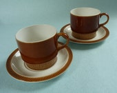 Set of 2 caramel 1960 -1970s Poole pottery tea cups with saucers - MATCHING ITEMS AVAILABLE