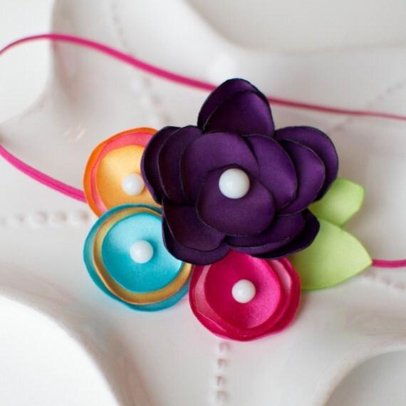 Pretty Garden Rainbow Bright Colored Flower Headband- Purple, Pink, Blue, and Orange Headband