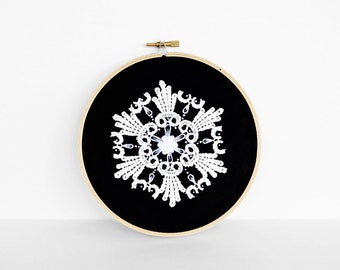 25% Off Sale: White Lace and Hand-Embroidered Details on Black, 6 Inch Embroidery Hoop Art Mandala