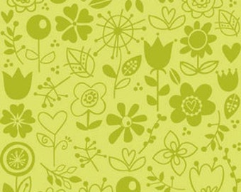 Riley Blake Sunny Happy Skies - Green Floral Fabric 1 yard