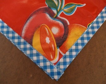 48x48 Sliced Fruit Red with Blue Gingham Trim Oilcloth Tablecloth