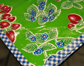 Rectangle Strawberry Green Oilcloth Tablecloth with Blue Gingham Trim