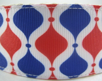Red White and Blue Scroll extra large hemp dog collar