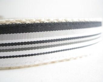 Hemp dog collar - Black and Gray Stripes