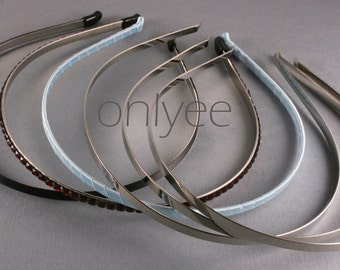 6pcs-5mm Shiny Silver Metal Frame Supply for  Headbands-High Quality Bent Tips (E200-6)
