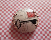 Retro Style Bead - Copper Stiched 24.5mm Round Bead - Heart Shaped Lock & Key Image Bead - Large Bead Focal - Qty 1
