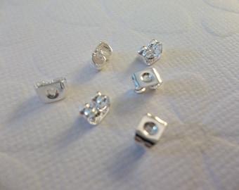 Ear Clutch Silver Plated Earrings Backs Nuts for Post Earring Findings - Qty 10