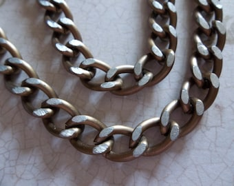 Lightweight Antiqued Gold Finish Aluminum Chunky Curb Chain 9 X 11mm Links - 30 inches