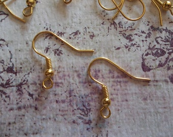 Gold Finish Brass Fish Hook French Earwire 20mm Earring FIndings with Ball & Coil - Qty 28