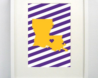 Baton Rouge, Louisiana State Giclée Print- 8x10 -  Graduation Gift Idea - Dorm Decor